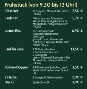 Frühstückskarte im Bistro Eselchen in Bonn Duisdorf