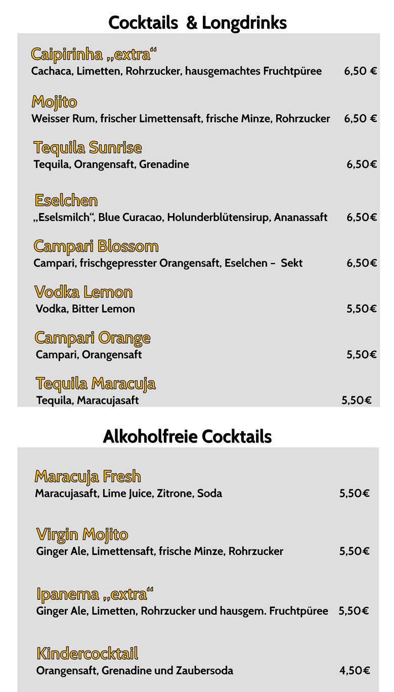 Cocktailkarte Kulturnacht Duisdorf 2017