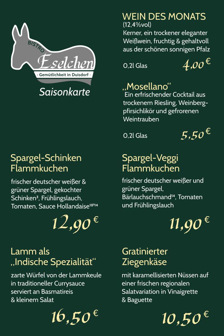 Saisonkarte Spargelsaison Stand April 2018